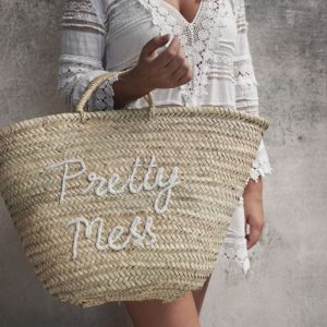 Rieten Strandtas Shopper | Pretty Mess | Wit