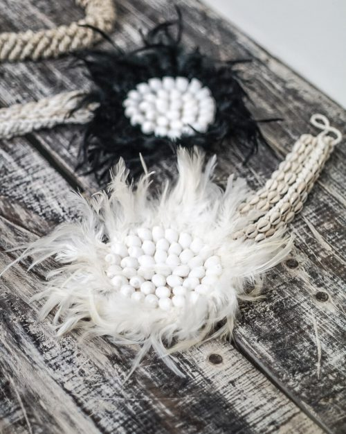 Wanddecoratie Juju Feather Macramé Hanger | Zwart