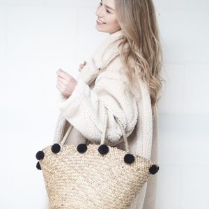 Geweven Rieten Tas Shopper | Pompom Zwart